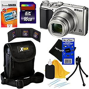 Nikon COOLPIX A900 Digital Camera with 4K Video Recording, 35x Zoom, Built-in Wi-Fi and NFC (Silver) - International Version (No Warranty) + 7pc 16GB Accessory Kit w/ HeroFiber Gentle Cleaning Cloth