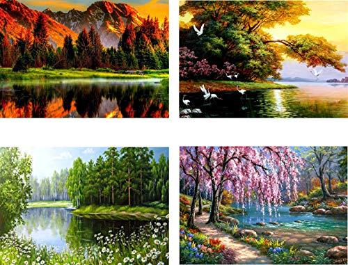 12X16inch 4 Pack 5D Full Drill Diamond Art Painting Dotz DIY Kits Supplies for Adults Kids Lake Tree Woodland Scenery Landscape Wall Decor