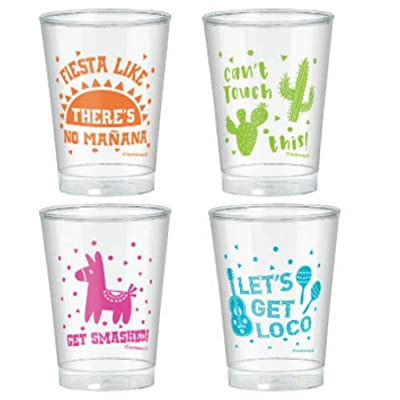Amscan 350297 Fiesta Printed Tumblers, 10 oz, Multicolor: Kitchen & Dining