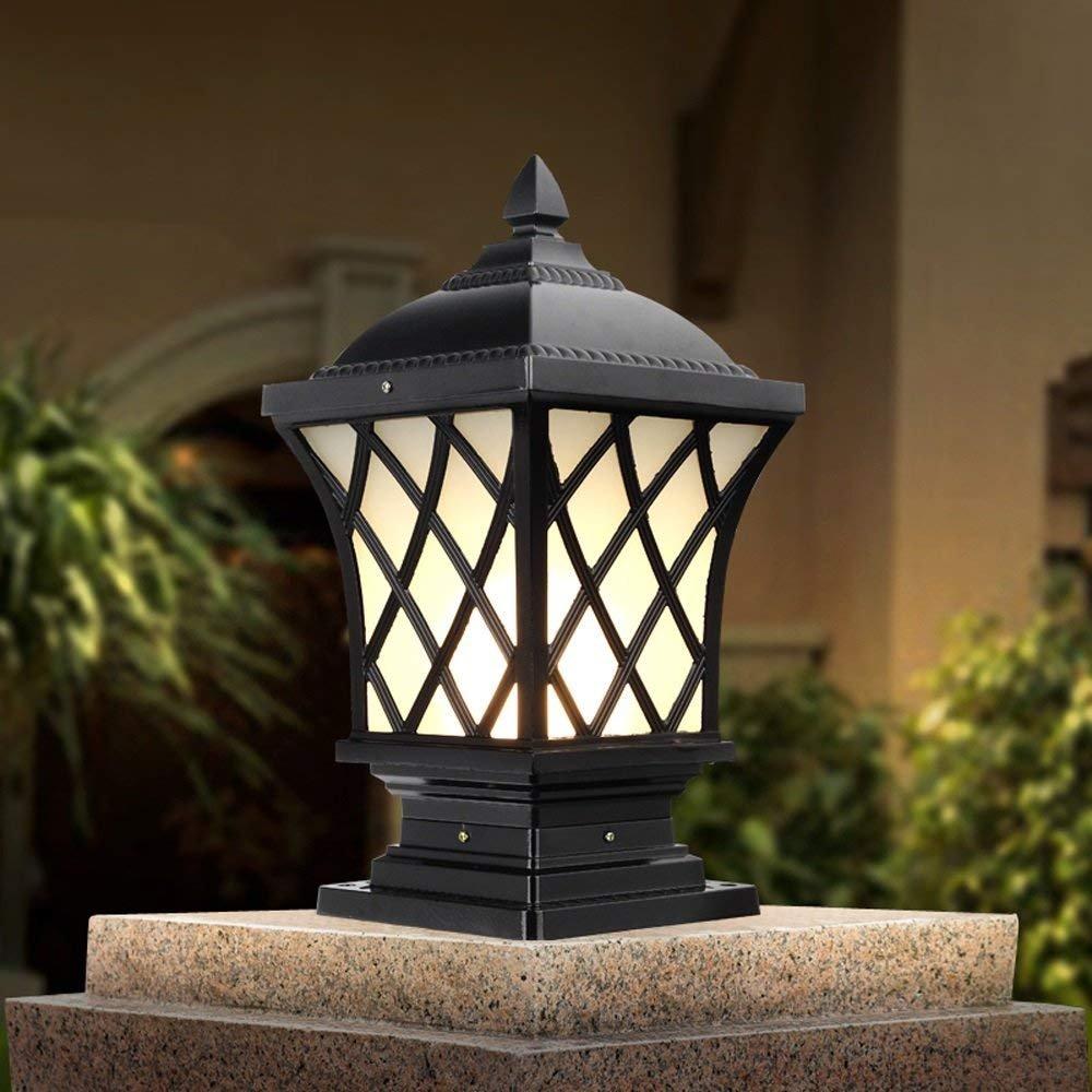 Welampa Tür Licht Tor Lampe Villa Hof Spalte Scheinwerfer Outdoor Garten Wand Leuchte Wohnwand Vintage Antike Straßenlaterne (Color : Black, Größe : 18.5 * 18.5 * 38cm)