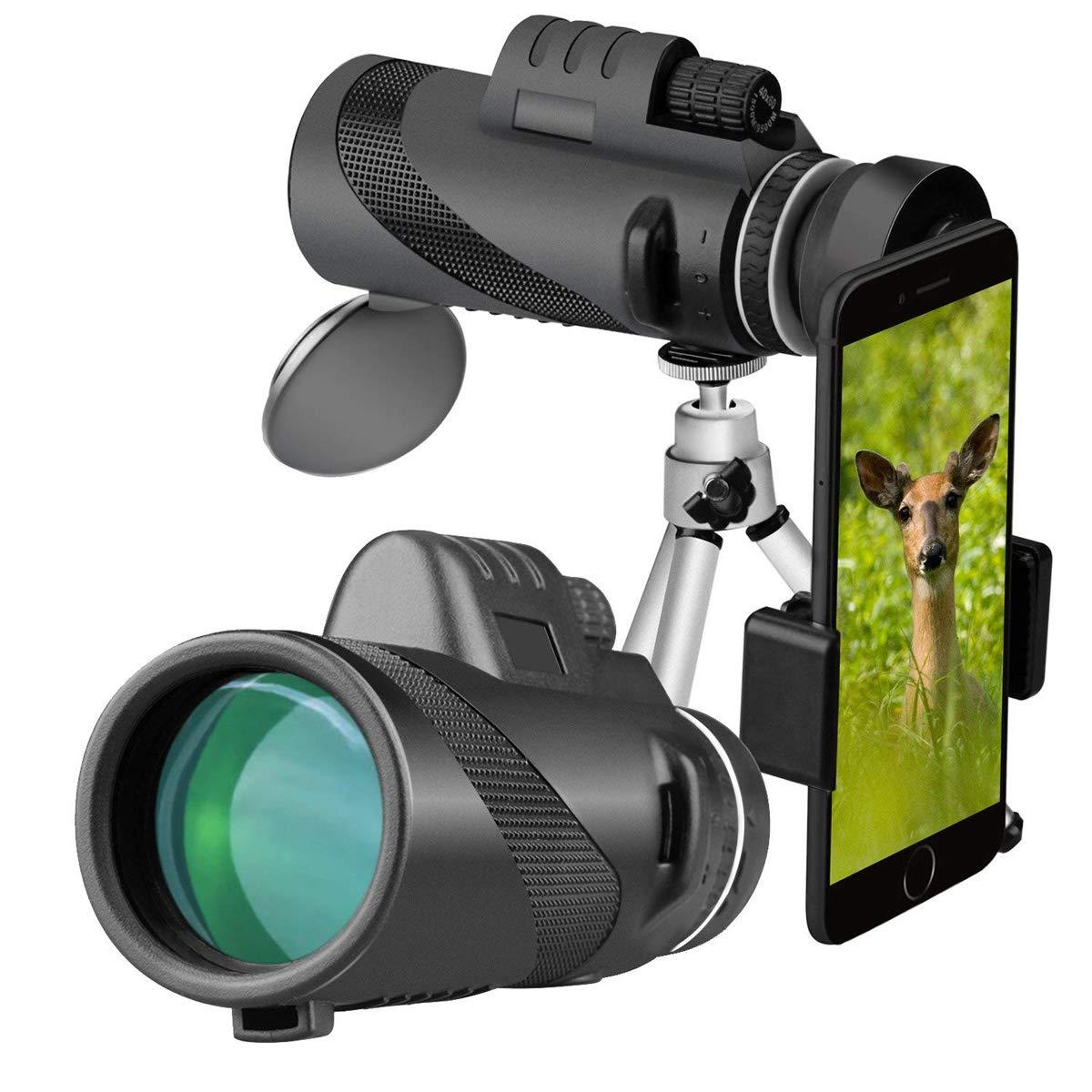 ZDYLL 40X60 High Power Prism Monocular Telescope and Quick Smartphone Holder - Waterproof Fog- Proof Shockproof Scope -BAK4 Prism FMC (Black)