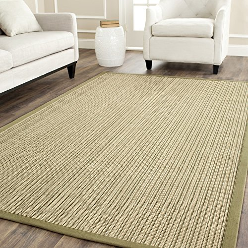 Safavieh Natural Fiber Collection NF442A Martinique Stripe Green Sisal Area Rug (5