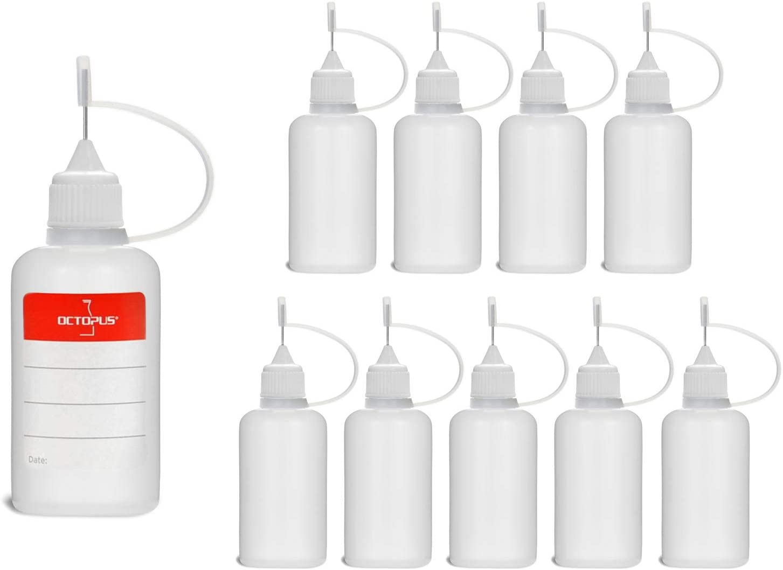 10 Botellas de recarga con aguja Octopus de 30 ml, botella para líquidos electrónicos para shishas electrónicas y cigarrillos electrónicos, aceites, tintas y pegamentos, botellas vacías de plástico LD