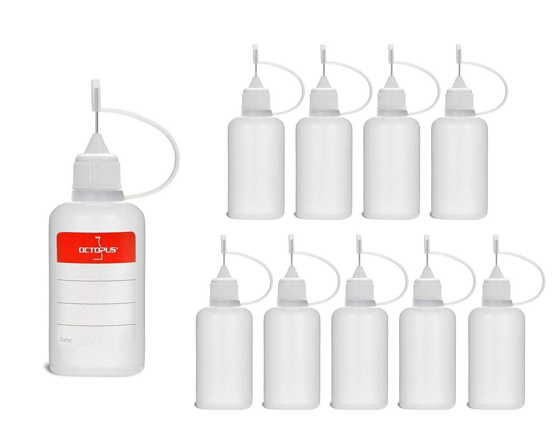 10 Botellas de recarga con aguja Octopus de 30 ml, botella para líquidos electrónicos para shishas electrónicas y cigarrillos electrónicos, aceites, tintas y pegamentos, botellas vacías de plástico LDPE para evaporadores / Depósitos / claromizador con dosi