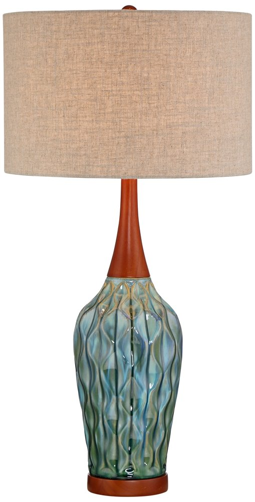 Rocco 30'' High Mid-Century Modern Blue Ceramic Table Lamp by 360 Lighting (Image #1)