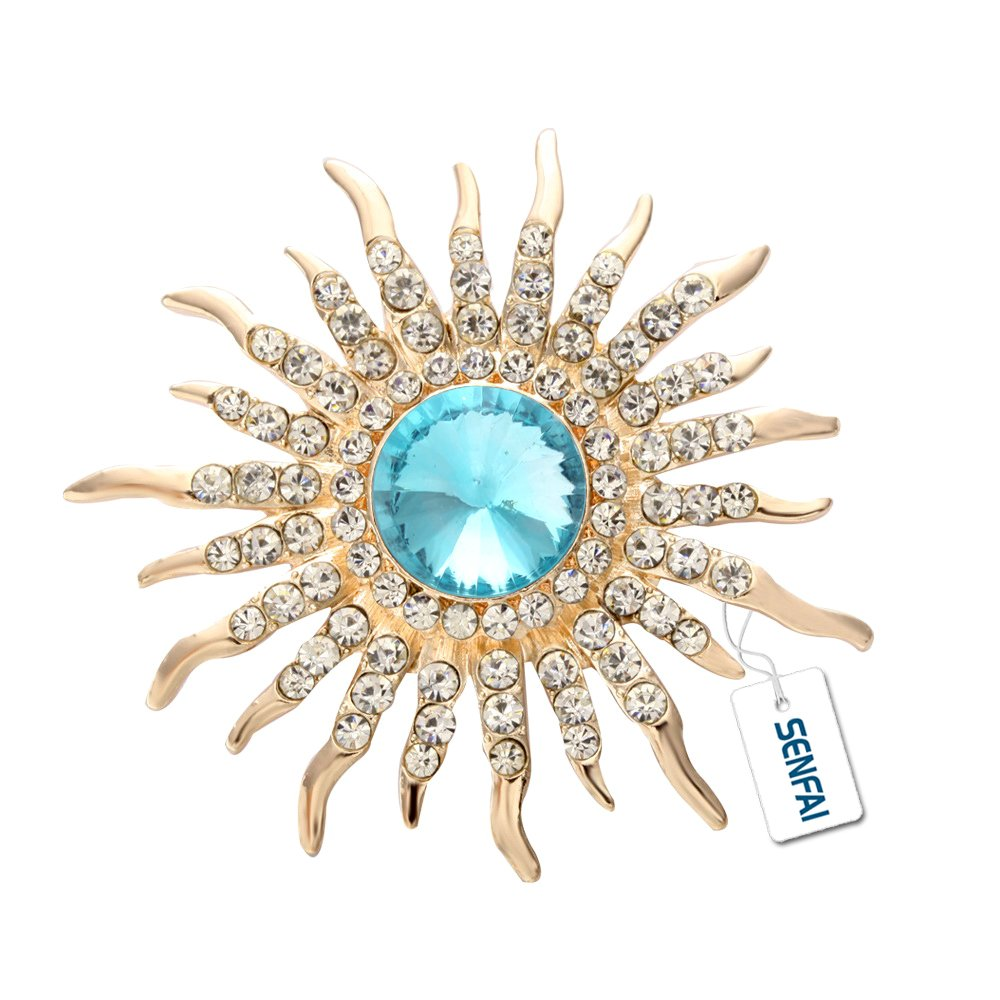 SENFAI Sun Brooch Rose Gold Plated Fine Jewelry Nickel Free Luxury Jewelry (Gold)