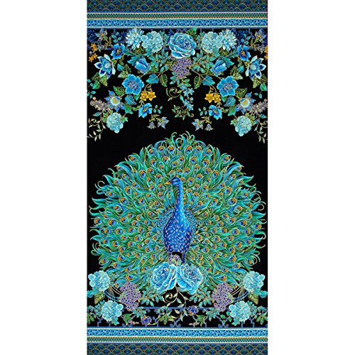 (Timeless Treasures Enchanted Plume Metallic 24in Peacock Panel Fabric)