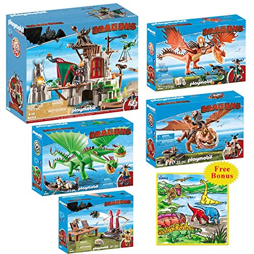 DimpleChild KTPM85871 Playmobil Kids DreamWorks Dragon Mega Toys Set with Dimple Washable Coloring Playmat, Multicolor