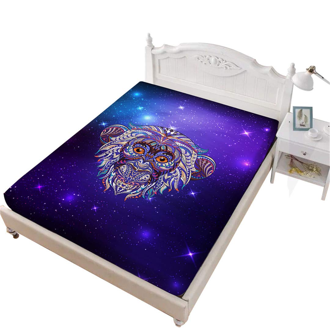 Rhap King Fitted Sheet, Cartoon Animal Printed King Size Sheet, Purple Galaxy Monkey 1 Piece King Size Deep Pocket Bedding Fitted Sheet
