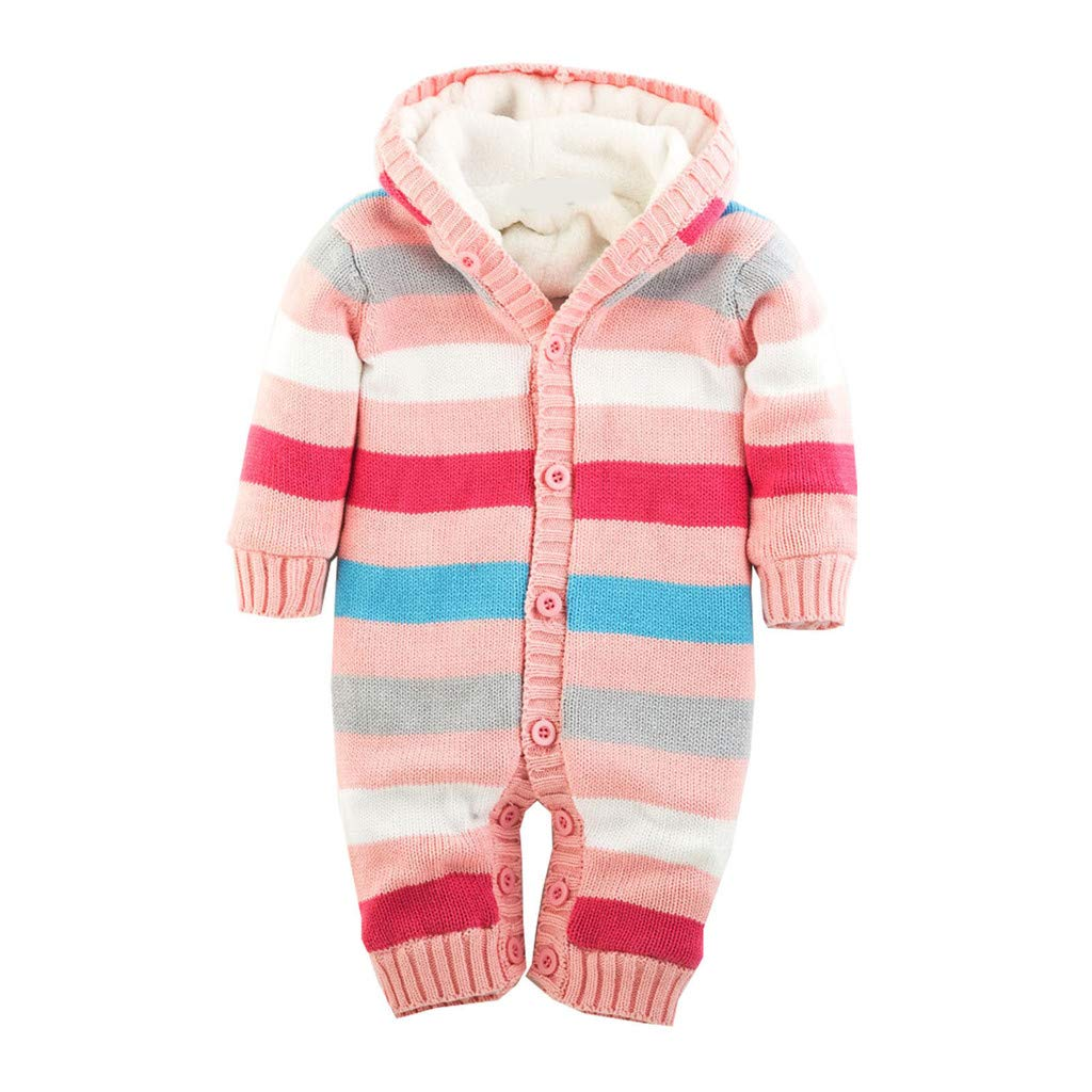 Gallity Newborn Baby Knitted Sweater Hooded Jumpsuits Winter Thicken Romper Striped Long Sleeve Fleece Lined Hooded Snowsuit Jackets Coats (0-6 Months, Pink) by Gallity Baby Coat