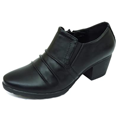 433dc5fc781 HeelzSoHigh Ladies Black Low-Heel Zip-Up Ruched Pixie Boho Ankle Boots Work  Shoes Sizes 3-9