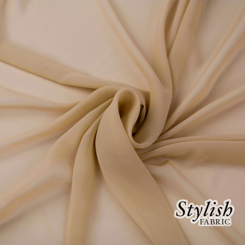 58'' STONE Solid Color Sheer Chiffon Fabric by the Bolt - 100 Yards (WHOLESALE PRICE) by Stylishfabric (Image #1)