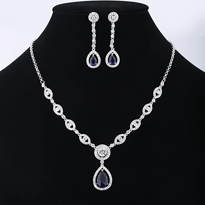GULICX AAA Cubic Zirconia CZ Women's Party Jewelry Set Fashion Earrings Pendant Necklace Silver Plated DFxZbTh