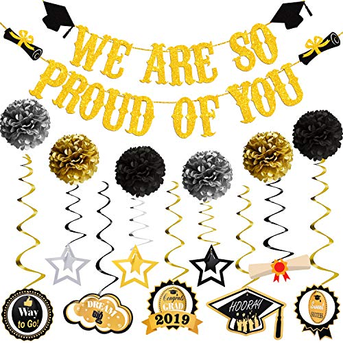 We Are Proud Of You and Hanging Swirls Kit - Assembled, Graduation Party Supplies 2019, Graduation Banner, Black and Gold High School, Prom, College 2019 Graduation Decorations, Large -