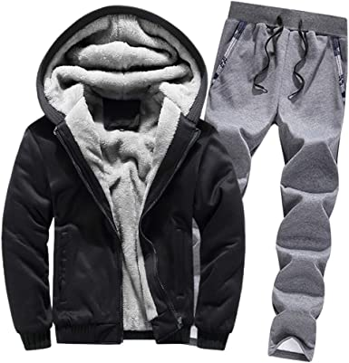 Mens Tracksuit Set Fleece Hoodie Tops /& Bottoms Joggers Gym Jogging Winter Sport