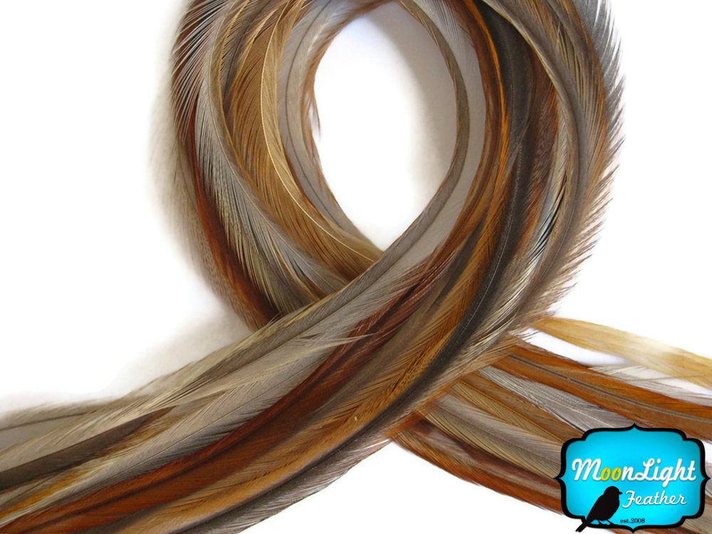 Moonlight Feather, Hair Extension Feathers - Medium Honey Ginger Color - 7-10 Inches Long, 10 Feathers by Moonlight Feather (Image #1)