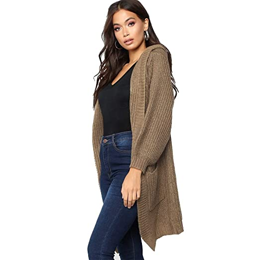 236dd01e8df GIFC Women Fashion Knitted Solid Color Long Sleeve Hooded Pocket ...