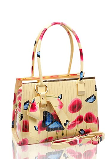 c225d4fab4 Ladies Women s Fashion Designer Patent Butterfly Print Shoulder Bag Hot  Selling Shinny Cross Body Handbag (
