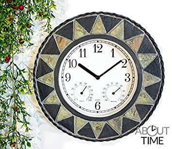 Charmant About Time Slate Effect Patterned Outdoor Garden Clock With Thermometer    30cm (11¾u0026quot;)