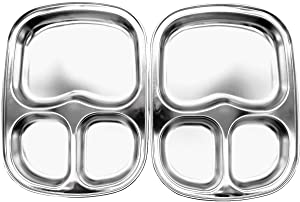 Korean Stainless Steel Divided Plates by KS&E, Kids Toddlers Babies Tray, BPA Free, Diet Food Control, Camping Dishes, Compact Serving Platter, Dinner Snack, 3 Compartment Plate Silver, Set of 2