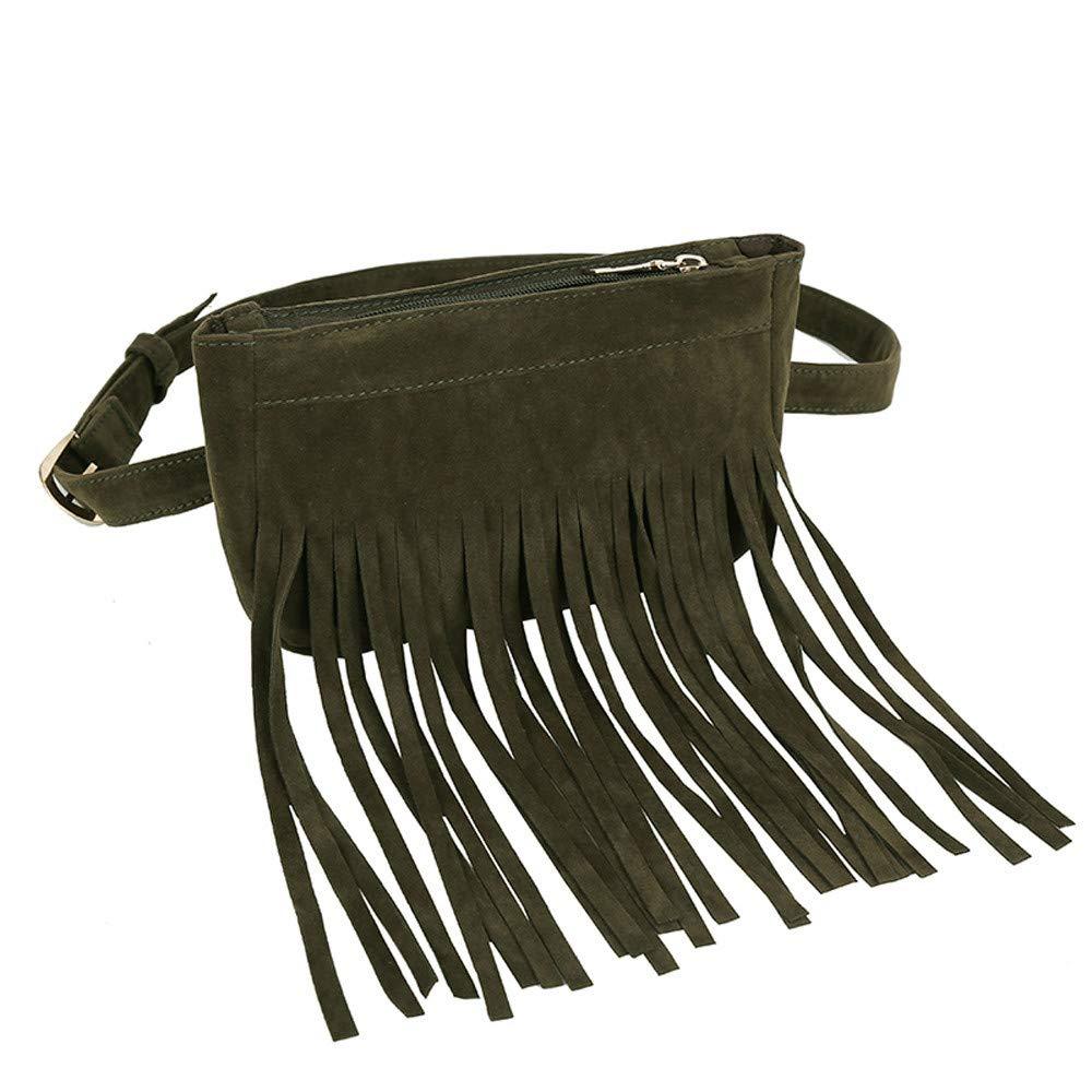 Tantisy ♣↭♣ Satchels for Women, Women's Fashion Tassel Pure Color Square Lock Messenger Bag Chest Bag Waist Bag Green by Tantisy ♣↭♣ (Image #2)