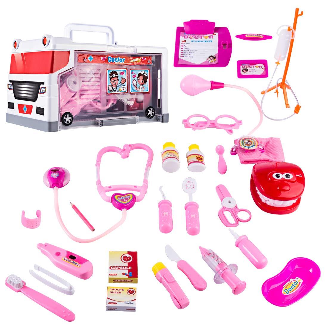Yvsoo Mallette Docteur Mallette Ambulance Dinette Enfant Jeu d'imitation Cadeau Anniversaire Noël pour Enfant