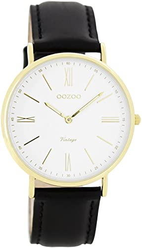 Oozoo Vintage Ultra Slim Leder 36 MM Gold/Weiss/Schwarz C7719