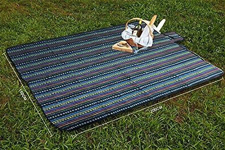 Extsud 200x200cm Couverture Camping Tapis de Pique Nique Natte Pliable Imperm/éable avec Poign/ée Facile /à Transporter pour Repos Jardin Plage
