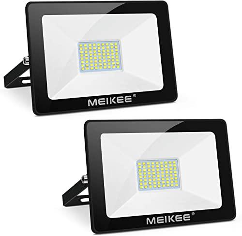 MEIKEE 60W LED Flood Light 2 Pack, Super Bright 6000LM LED Work Light, IP66 Waterproof Outdoor Security Lights 5000K Natural White Light Flood Light for Playground, Yard, Garden, Stadium