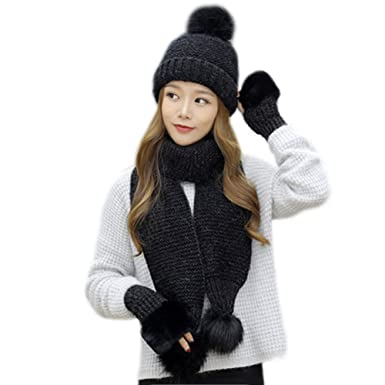7169cf0902b Image Unavailable. Image not available for. Color  Emual 3 in 1 Winter Soft  Warm Thick Cable Knitted Hat Scarf Gloves Set for Women