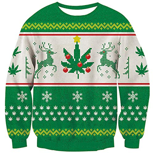istmas White Snowflake Jumpers Weed Pullover Sweatshirts 3D Printed Sweater Blouse Shirt M ()