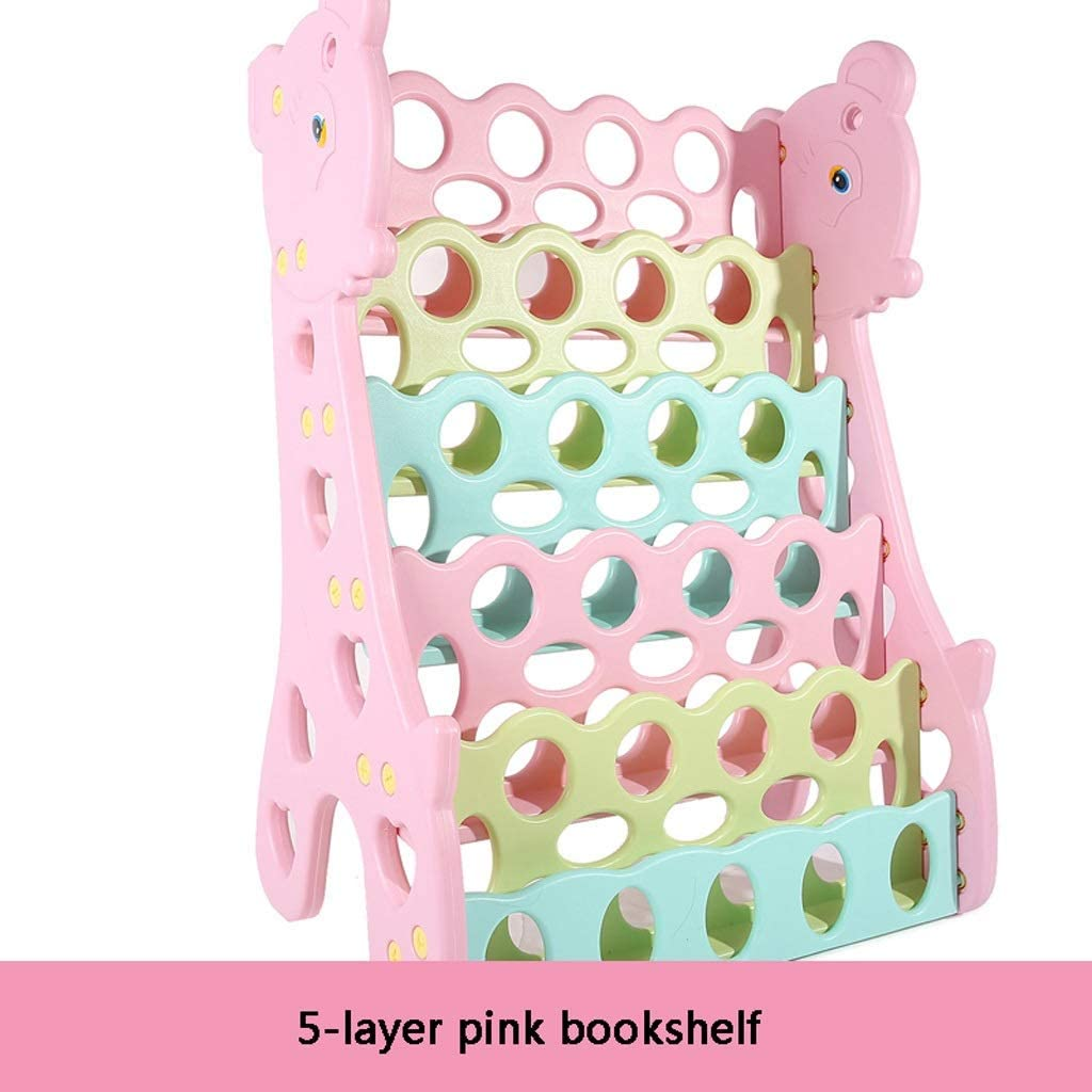 マガジンラック 子供の本棚5階子供の小さな本棚絵本スタンドシンプルな本棚の床棚赤ちゃん本棚本棚 GUOTAIJUNFU (Color : Pink)