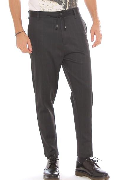 a545808df0 AltaTensione Pantalone Baggy Elegante gessato in Tessuto Stretch ...
