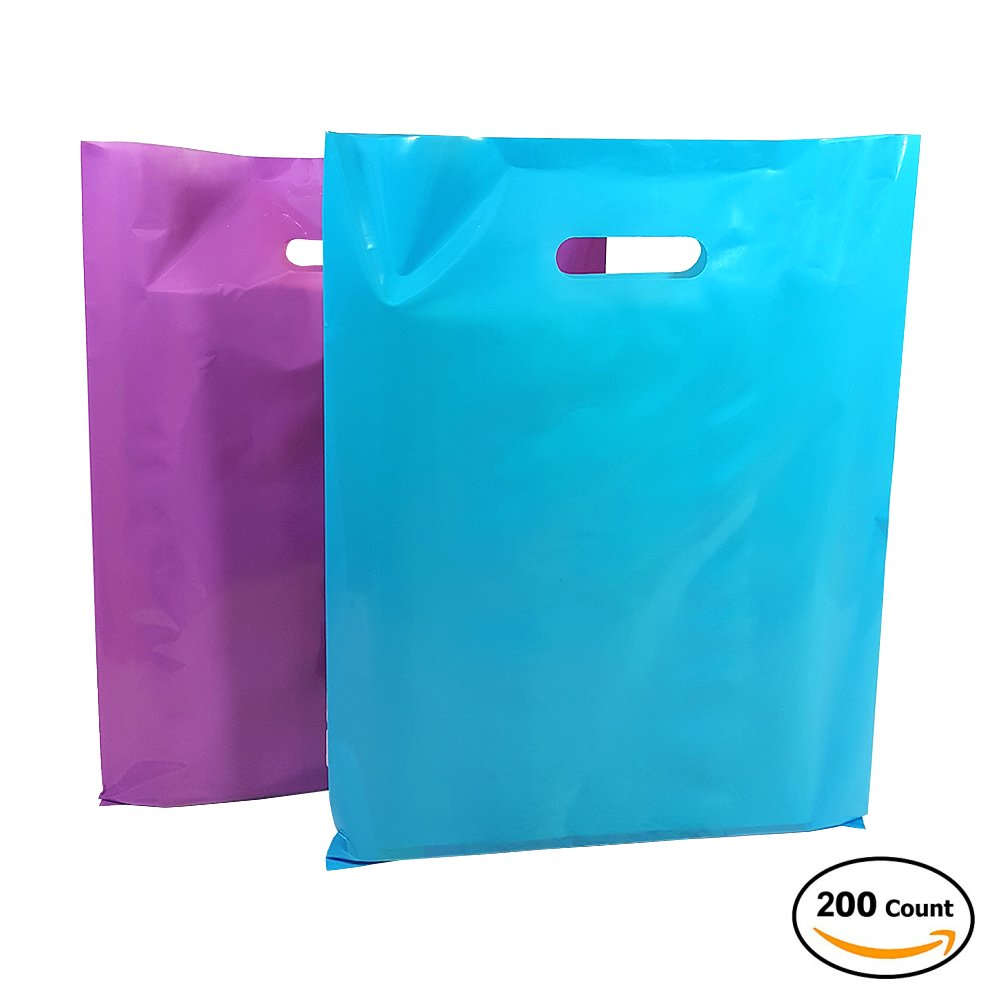 "200 Premium Plastic Merchandise 12"" x 15"" Bags with Fashionable Glossy 100 Purple and 100 Blue. Retail Shopping Bags are Thick, Strong with Die-Cut Handle. LDPE Retail Bags"