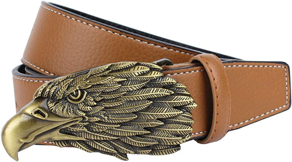 Men's American Eagle Head Leather Casual Jean Belt With