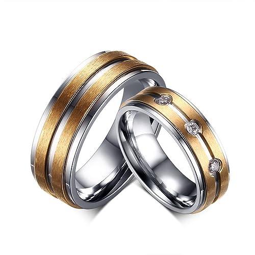 suohuan moda banda oro titanio acero parejas Promesa Boda Compromiso Anillos Regalo