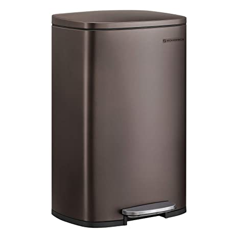 SONGMICS 13.2 Gal (50L) Kitchen Trash Can, Pedal Garbage Can, with Plastic  Inner Bucket, Hinged Lid, Soft Closure, Odor Proof and Hygienic, Brown ...
