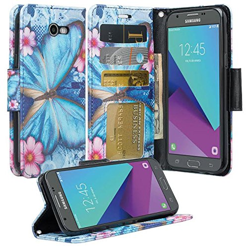 Eclipse Wallet (GALAXY WIRELESS for Galaxy J3 Luna Pro Case,Galaxy J3 Prime Case,J3 Eclipse,Galaxy J3 Emerge, Amp Prime 2, Express Prime 2, Sol 2/J3 2017/J3 Mission [Kickstand] Leather Wallet ID Slots, Blue Butterfly)
