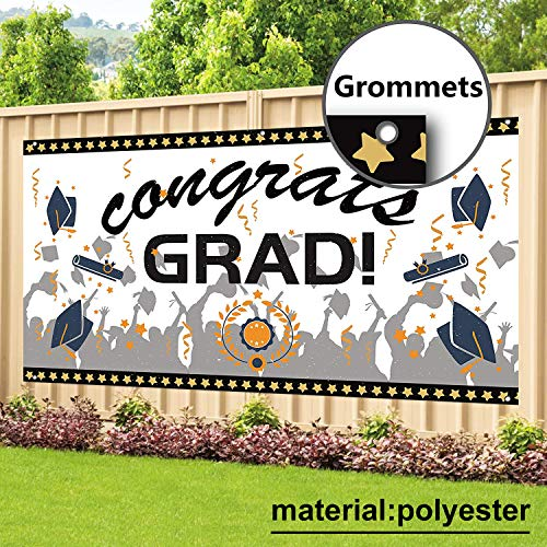 Polyester Fabric Banner - Graduation Party Banner Supplies 71'' x 40'' - Durable Polyester Fabric Congrats Grad Banner for Graduation Party Decorations 2019, Photo Prop/Booth Backdrop
