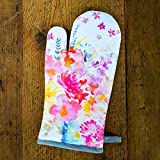 100% Cotton Digitally Printed Watercolor Oven Mitt. 7.5-inch x 13-inch. Perfect gift. French Designs - Fleurette Collection, by Vous Du Rivage