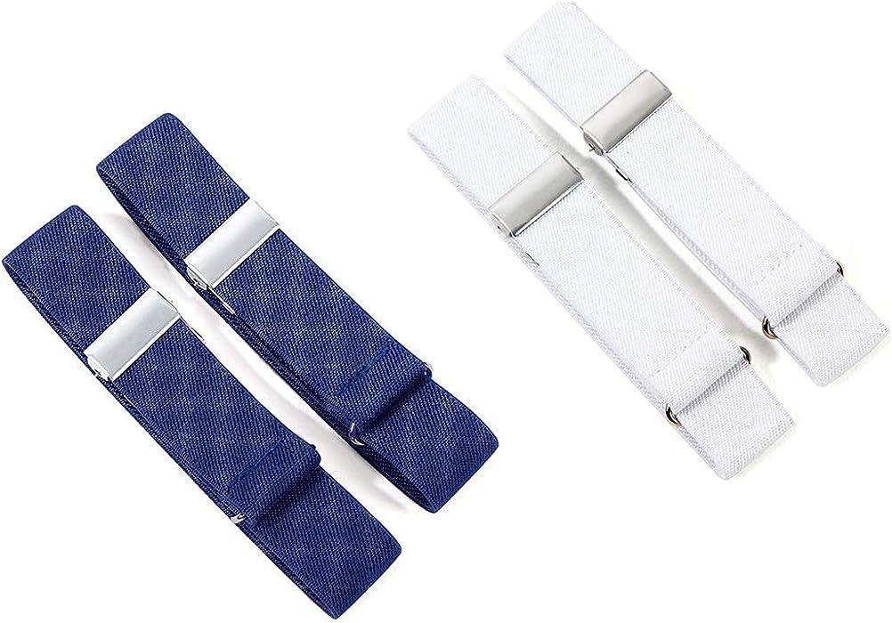 4x Unisex Anti-Slip Shirt Sleeve Holders Garters Adjustable Stretch Armbands