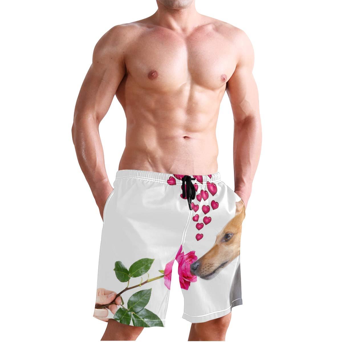 Men/'s Swim Trunks Beach Board Swimwear Shorts Dog Valentines Rose Swimming Short Pants Quick Dry Water Shorts Mesh Lining