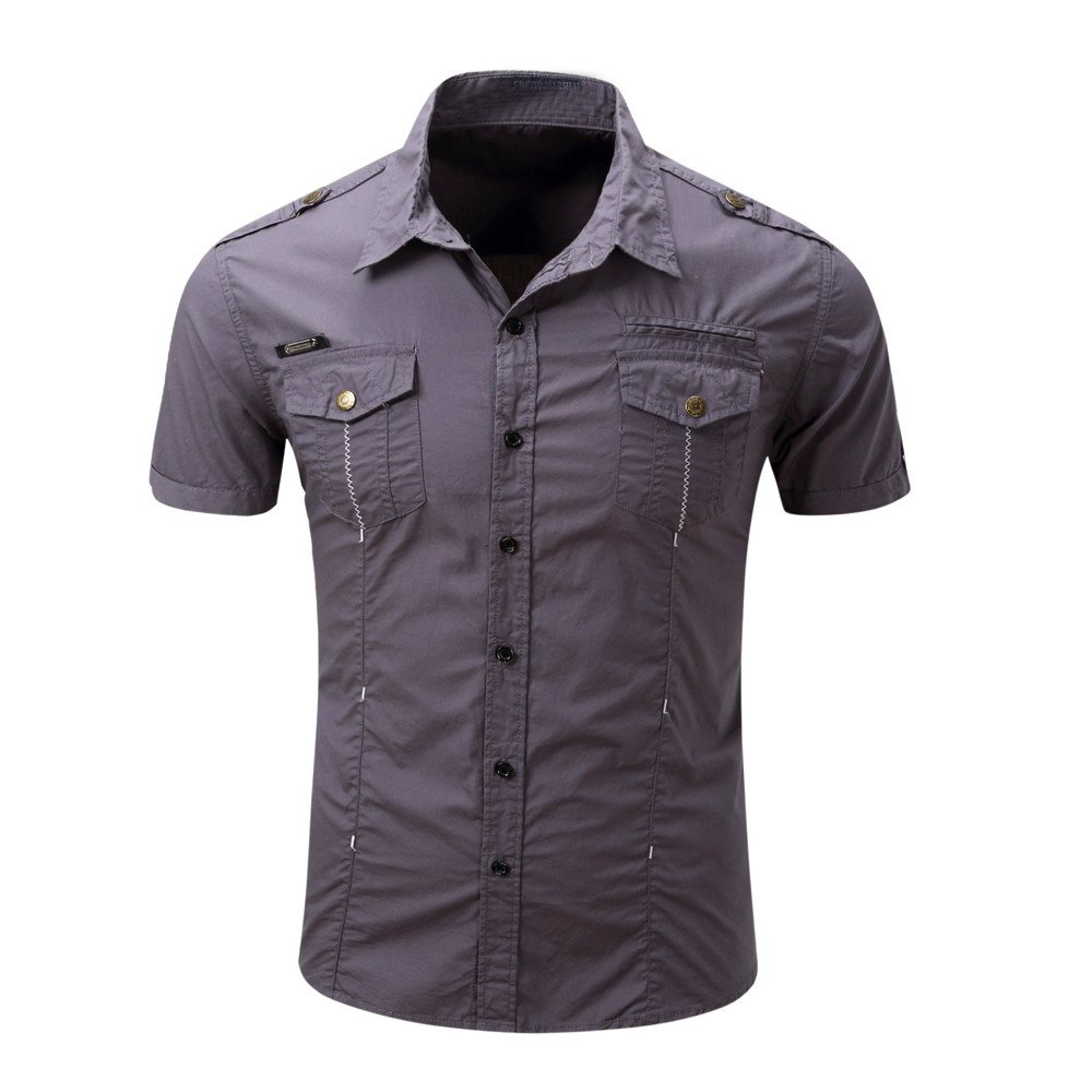 WEUIE Clearance Sale Men's Casual Button O Neck Pullover Short Sleeve T-shirt Top Blouse (L,Gray)