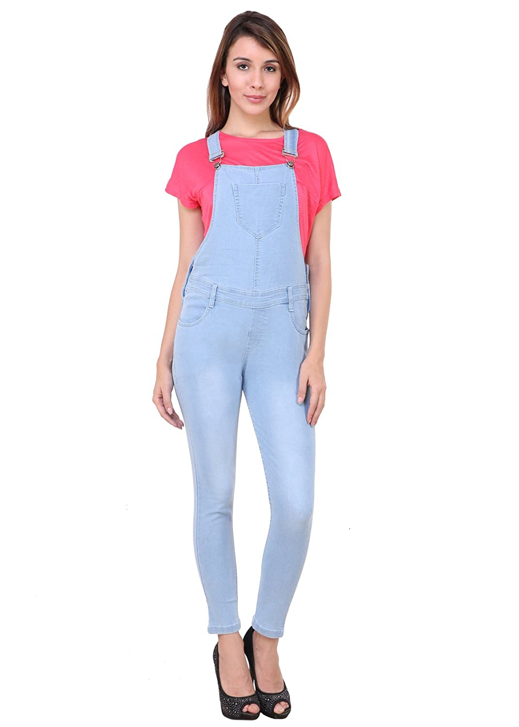 3d9dd42203b Broadstar Women Denim Ice Blue Dungarees  Amazon.in  Clothing   Accessories