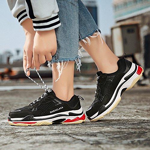 Zapatillas de Estilo Ocasionales sin Retro Zapatillas Mujeres de A Zapatos Zapatillas Deporte para Deporte Cordones Verano black de Hasag Verano de de Deportivos XHx8qwqT