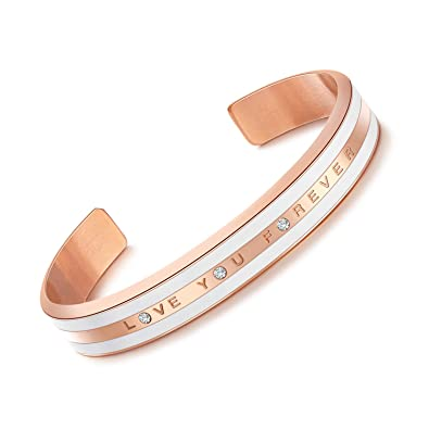 "503f81846 CDE ""Love You Forever Stainless Steel Rose Gold Cuff Bracelet Bangle  with CZ Diamonds"
