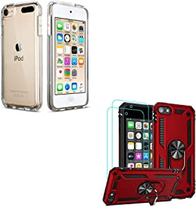 ULAK iPod Touch 7th Generation Case Clear & iPod Touch Case Heavy Duty Protection with Screen Protector Kickstand