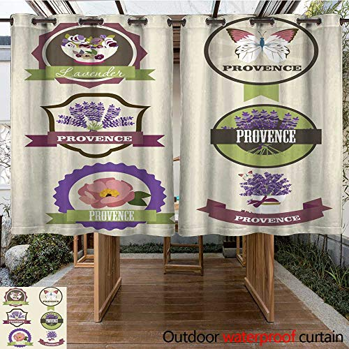 RenteriaDecor Outdoor Ultraviolet Protective Curtains Provence Label W84 x L72