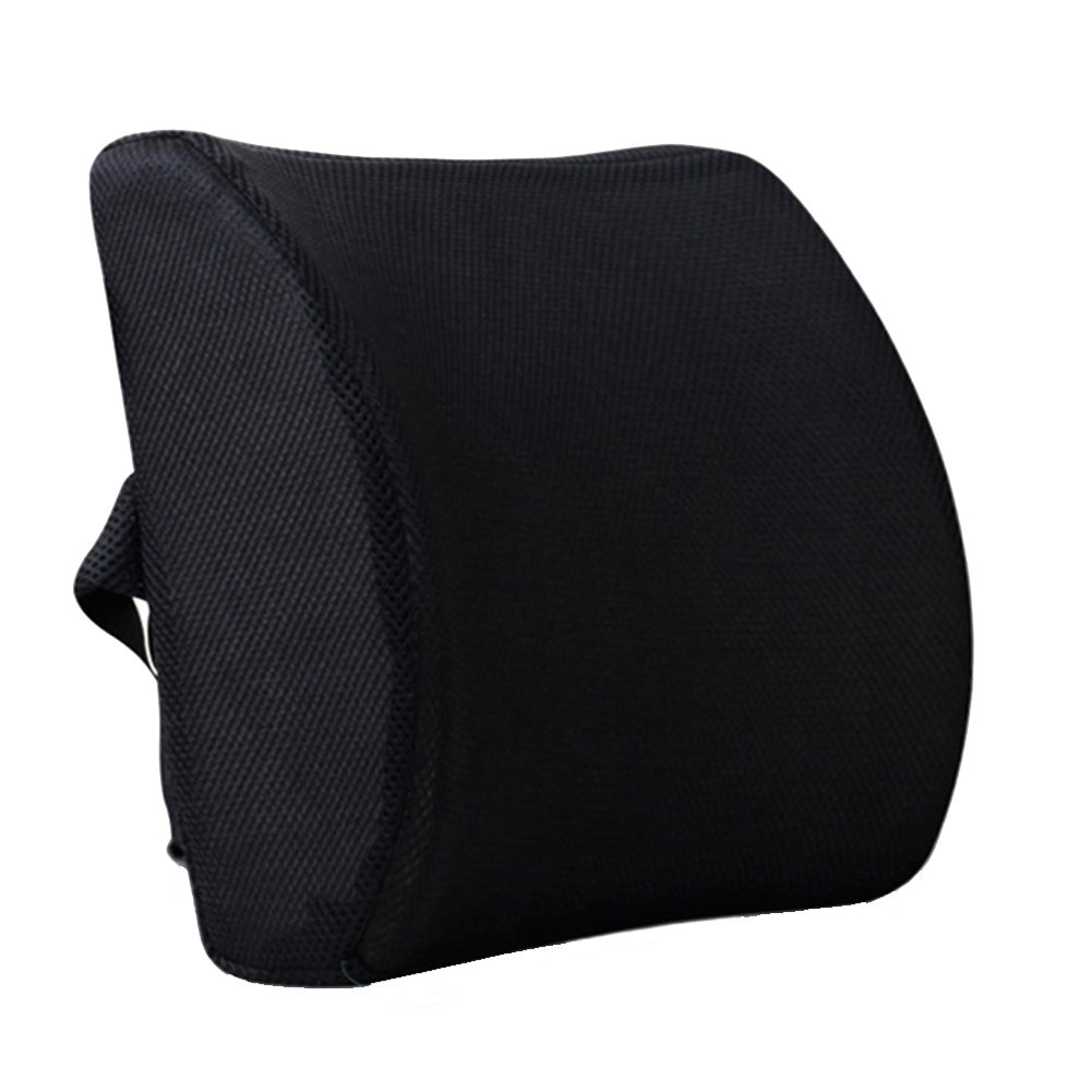 Dofover Memory Foam Lumbar Cushion Lower Back Support Pillow Posture Correcting Car Seat Home Office Chair (Black)