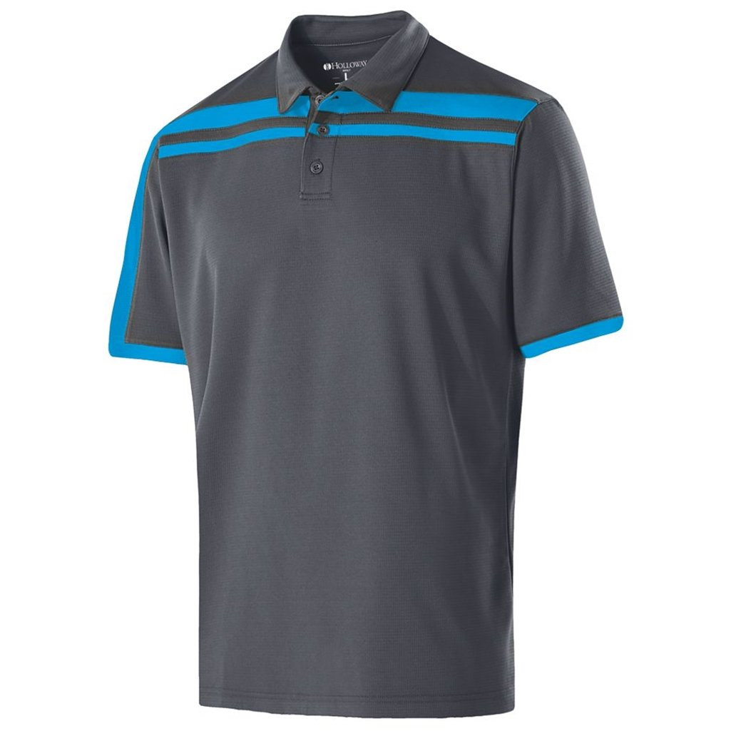 Holloway Dry-Excel Mens Charge Polo (Small, Carbon/Bright Blue)